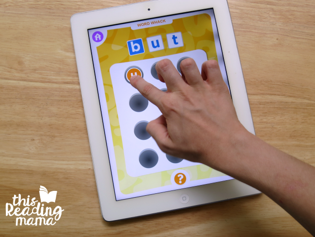 Word Whack sight word spelling game from sight word app