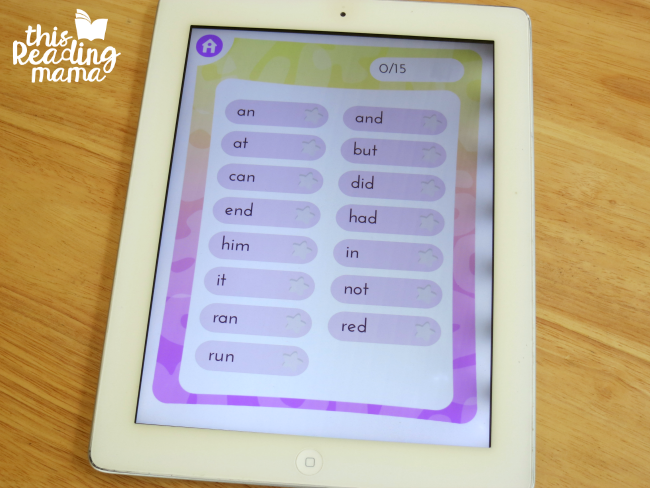 choosing sight words that share a particular phonics feature on the sight word app