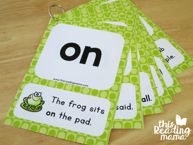 level 2 sight word sentence cards with sight word and sentence