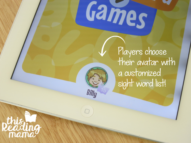 players tap on their avatar-name with customized sight word list included