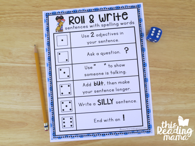 Roll & Write Sentences with Spelling Words - This Reading Mama
