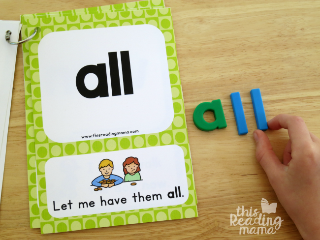spelling sight words with magnetic letters from level 2 sight word sentence cards