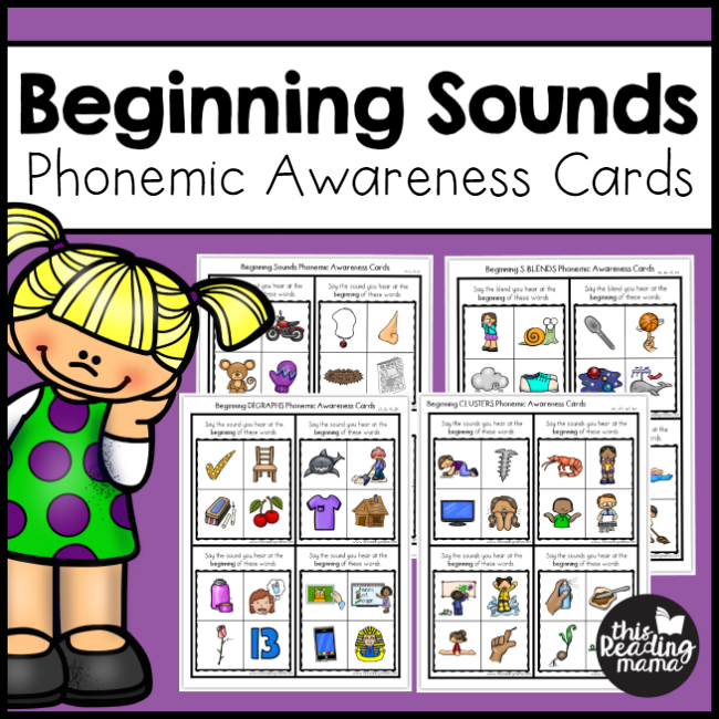 Beginning Sounds Phonemic Awareness Cards - This Reading Mama