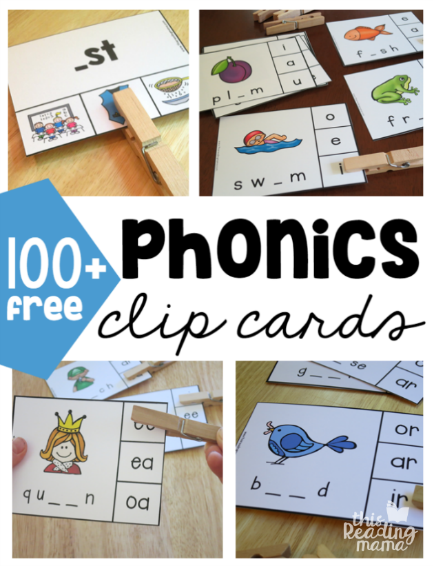 Free Phonics Clip Cards - This Reading Mama