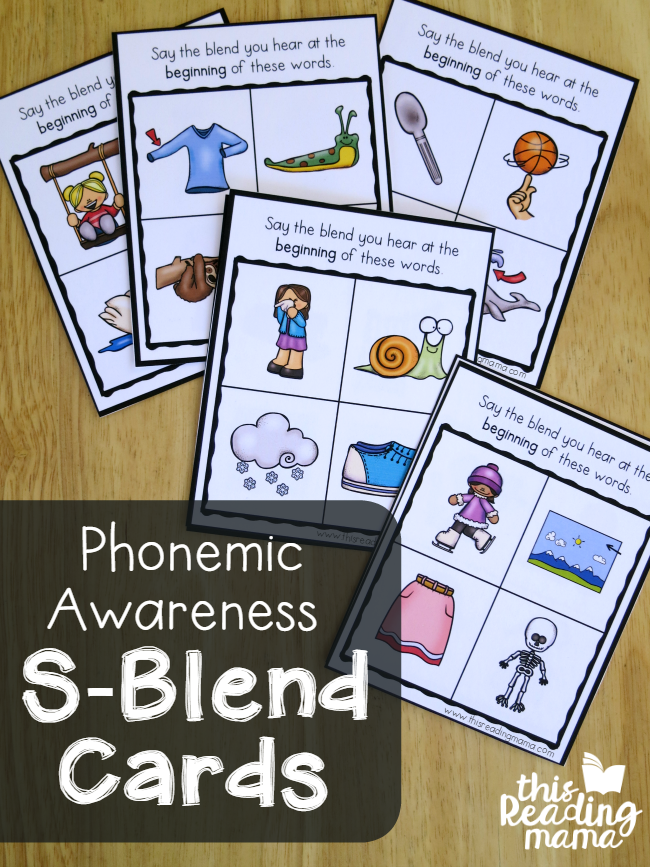 Free Phonemic Awareness S-Blends Cards with Answer Keys - This Reading Mama