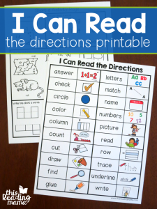 I Can Read Directions Printable Chart {FREE}