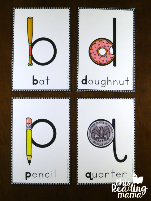 letter reversal posters for lowercase b, d, p, and q