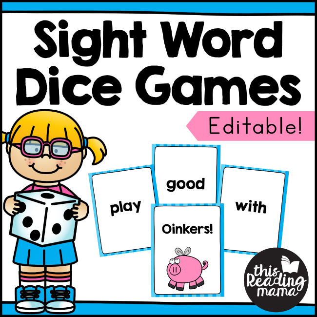 Editable Sight Word Dice Games with Cards - This Reading Mama