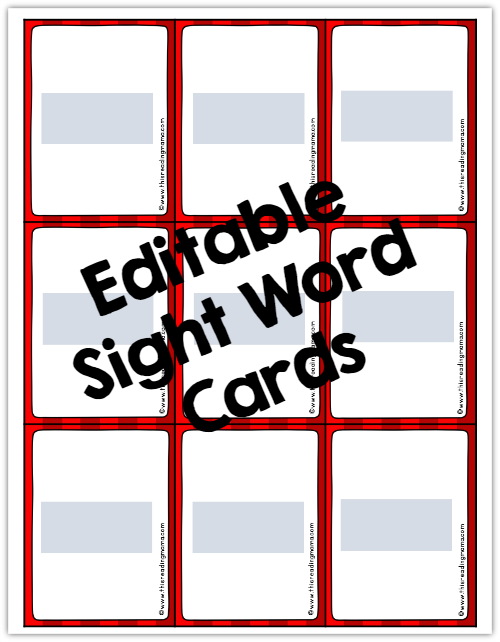 editable sight word cards for sight word dice game