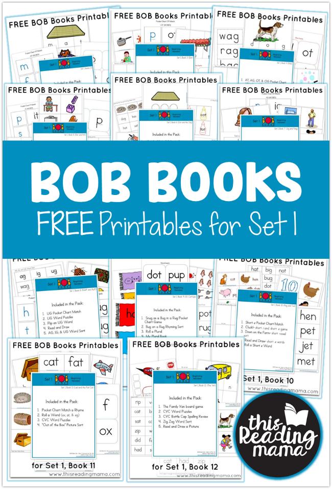 FREE Set 1 BOB Books Printables - This Reading Mama