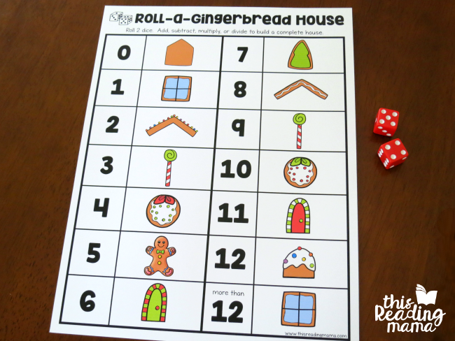 roll a gingerbread house math game board