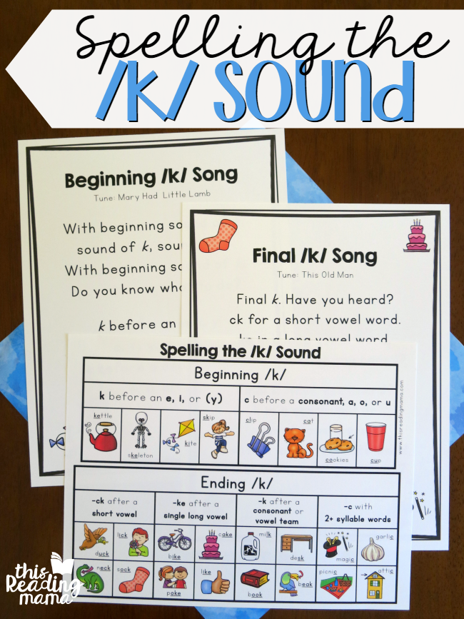 Spelling the k Sound - Charts and Songs - This Reading Mama
