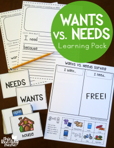 Wants vs Needs Learning Pack {FREE}