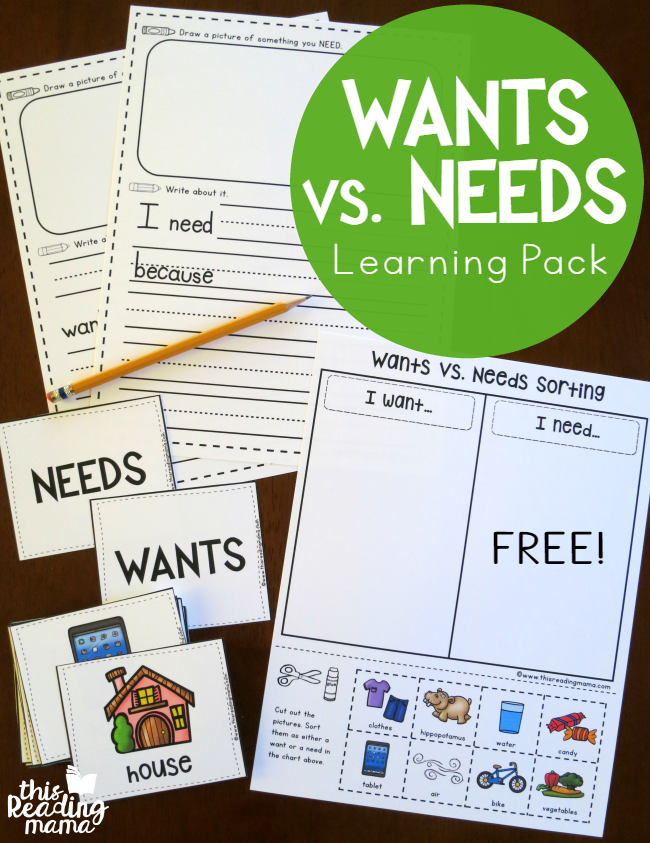 Wants vs Needs Learning Pack - free - This Reading Mama
