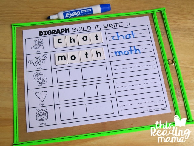 build and write digraph mats slipped into dry erase pockets
