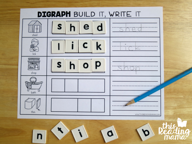 build and write digraph mats with letter tiles and pencil