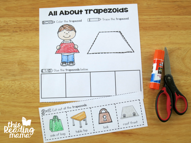 color, trace, cut, and glue with interactive shape pages