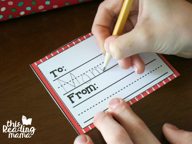 kids can write on - writing lines on printable Christmas gift tags