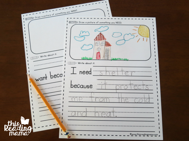 wants and needs writing activity page