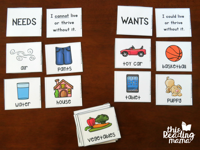 wants vs needs picture sorting cards on tabletop