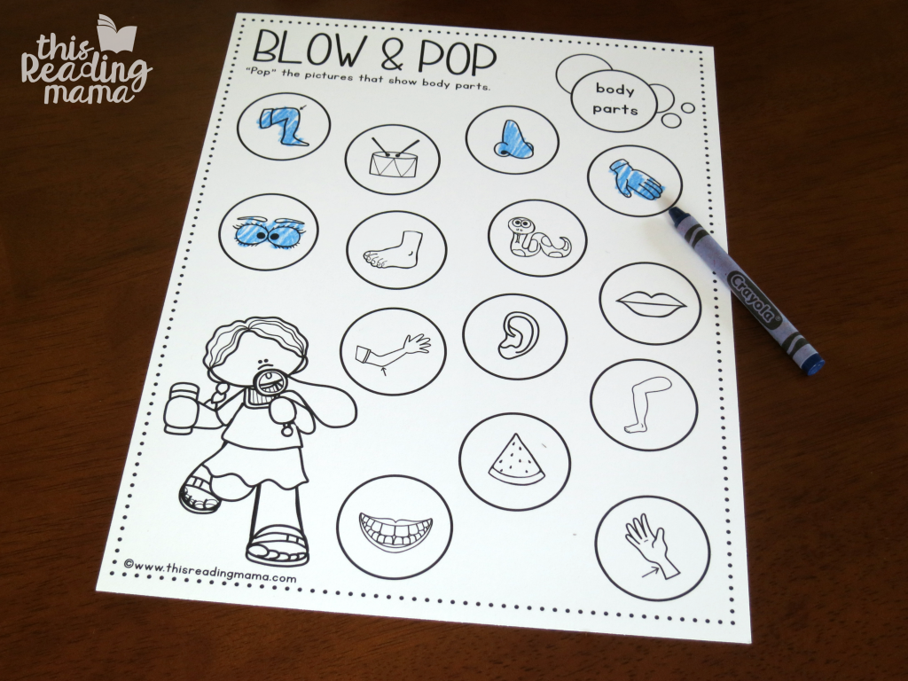 Blow and Pop using crayon instead of dot markers