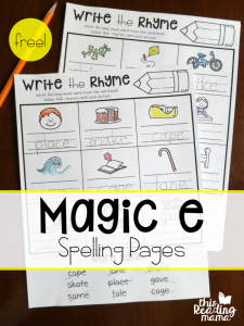 Magic e Spelling Pages {Write the Rhyme}