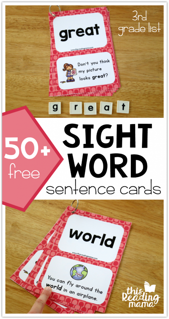 Third Grade Sight Word Sentence Cards - This Reading Mama
