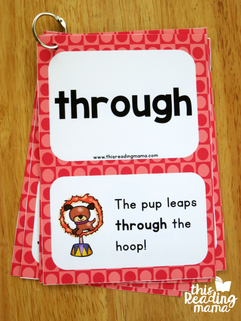 hole punch sight word cards and make a flip book