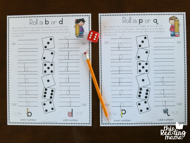 letter reversals handwriting pages for b, d, p, and q - level 1