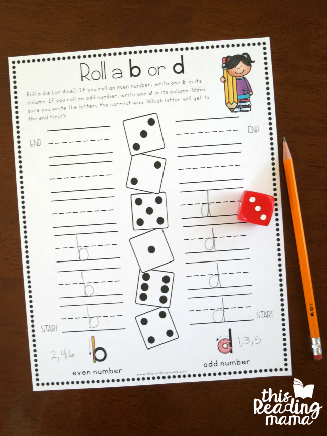 letter reversals handwriting pages - roll and race