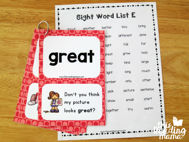 third grade sight word sentence cards from printable sight word list