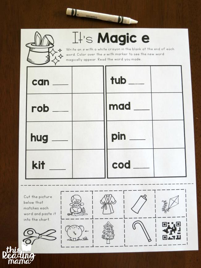 writing magic e with white crayon
