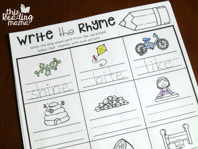 writing the rhyming word on Magic e Spelling Pages