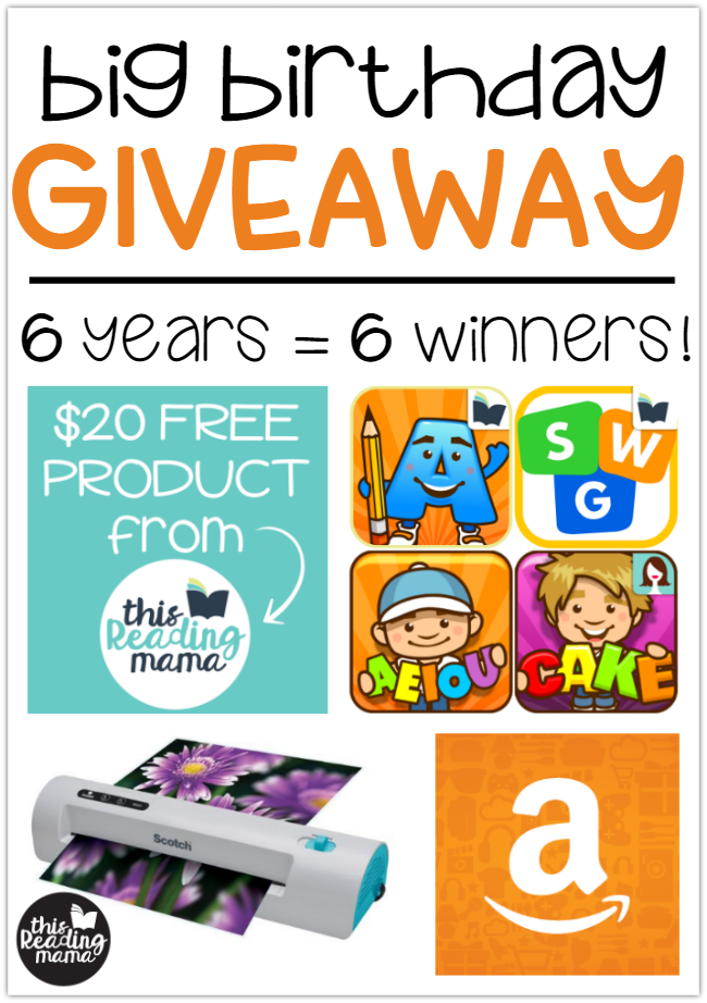 Big Birthday Giveaway - 6 years = 6 winners - This Reading Mama