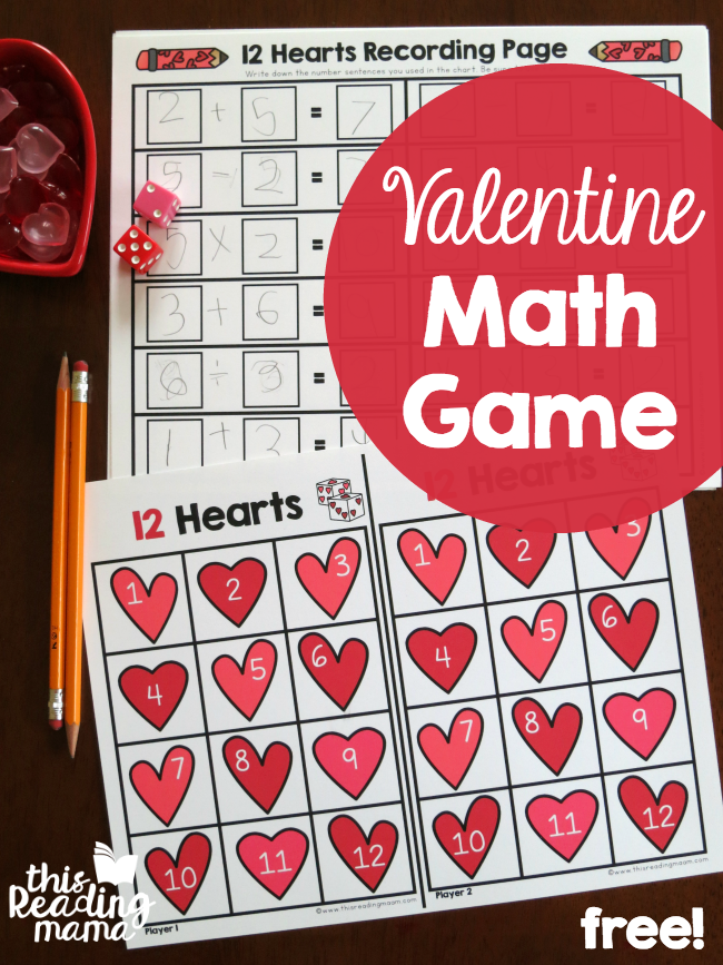 FREE Valentine Math Game - with different ways to play - This Reading Mama