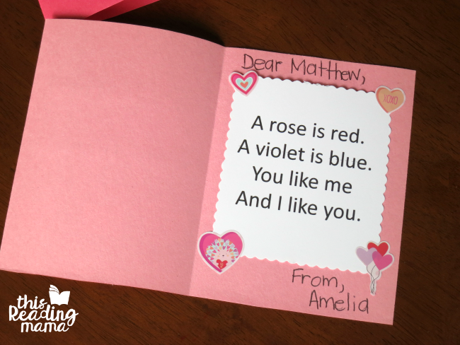 finished kid-made poetry Valentines