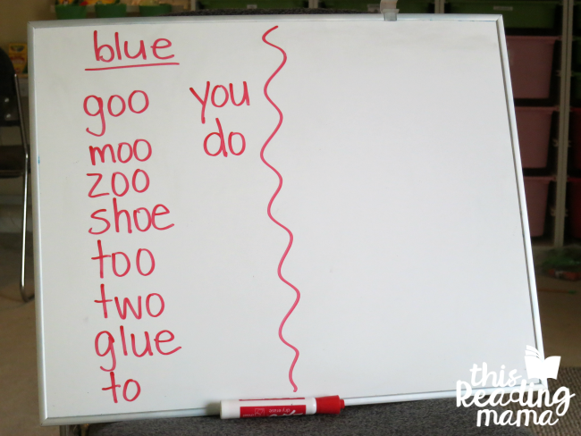 list of words that rhyme with blue