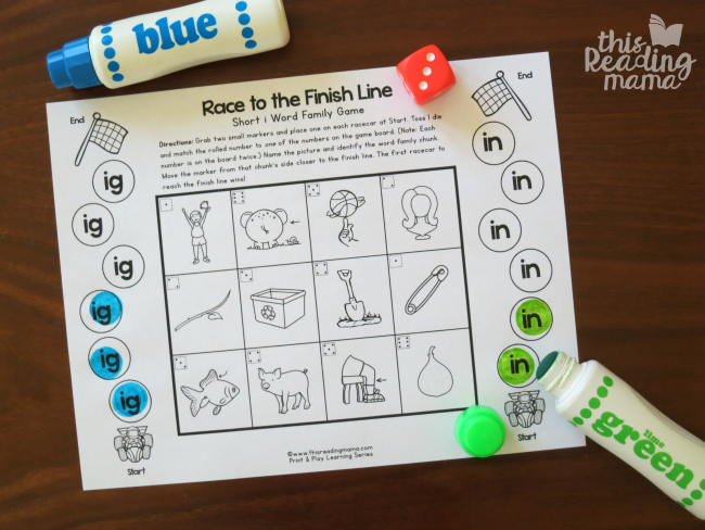 IG and IN word family game board - roll and dot by word family chunk