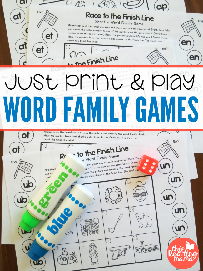 Just Print and Play Word Family Games - free sample - This Reading Mama