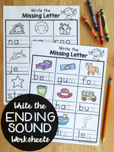 Write the Ending Sounds Worksheets