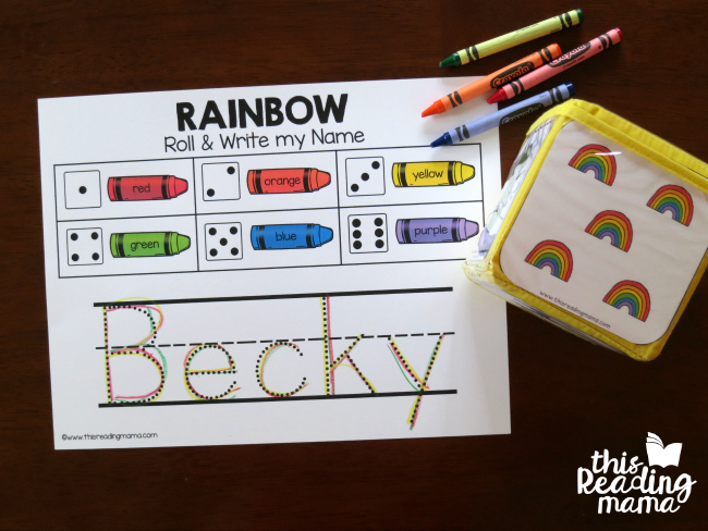 spring pocket chart inserts with the rainbow roll and write my name page