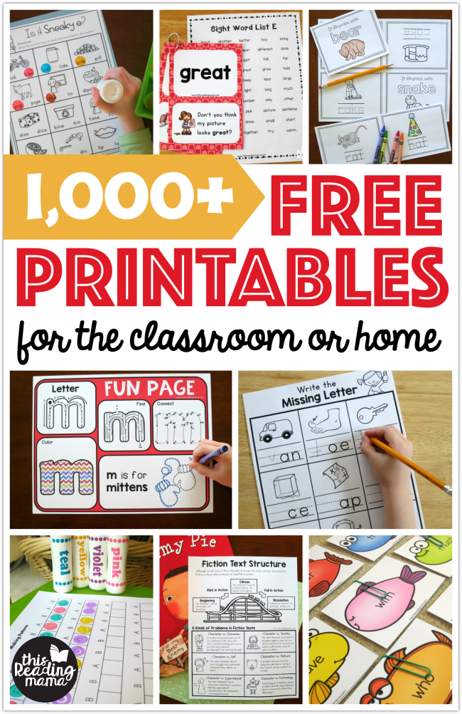 Thousands Of Free Printables For The Classroom Or Home This Reading Mama