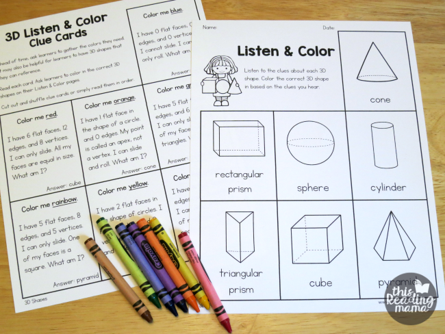 3D shapes assessment page for teacher and learner
