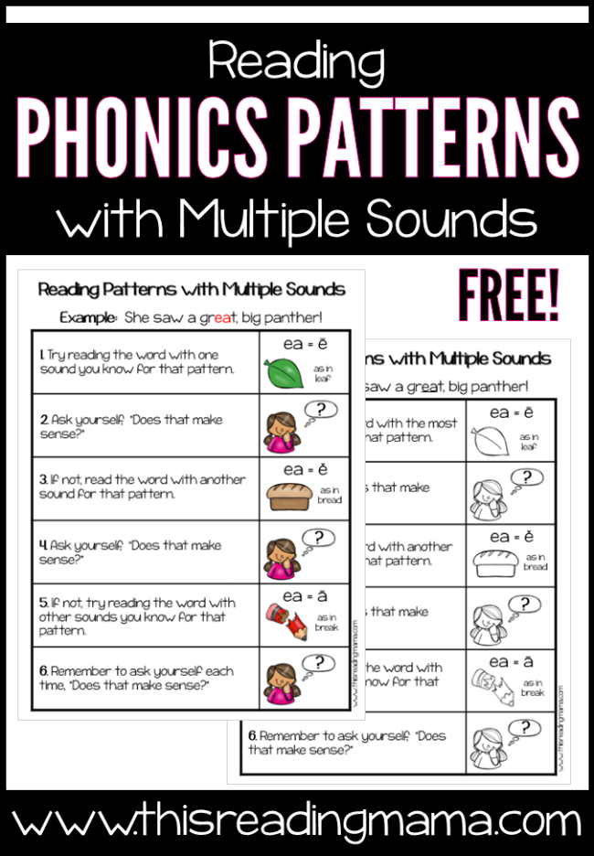 Reading Phonics Patterns With Multiple Sounds Chart This Reading Mama