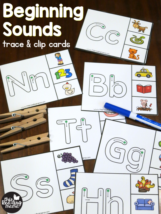 beginning sounds clip cards trace clip this reading mama
