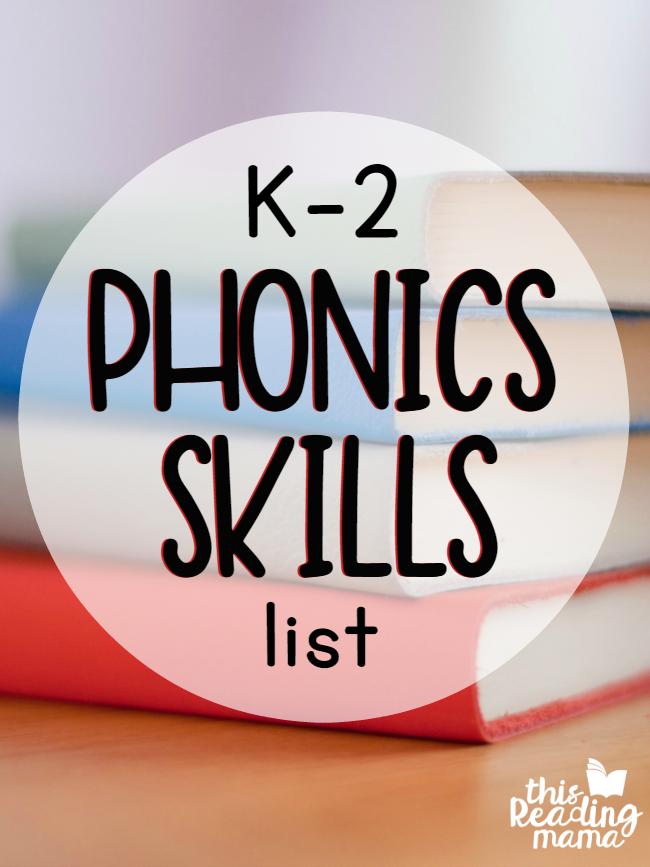 K 2 Phonics Skills List Free Printable List This Reading Mama