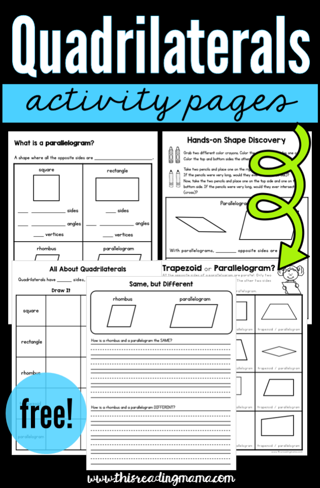 Quadrilateral Activity Pages {FREE!} - This Reading Mama