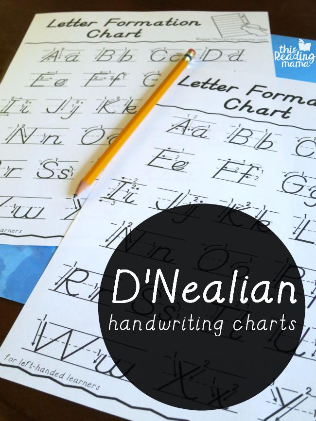 D'Nealian Handwriting Charts – Free!