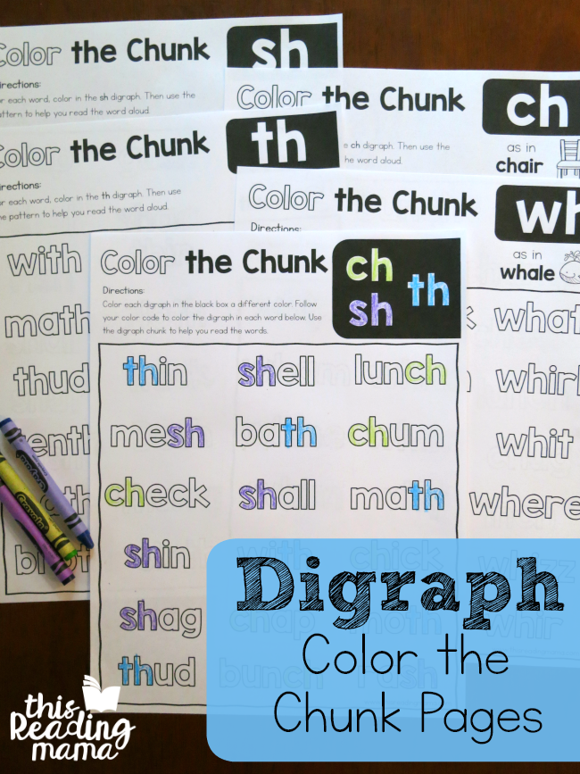 Color the Chunk: Digraph Pages - This Reading Mama