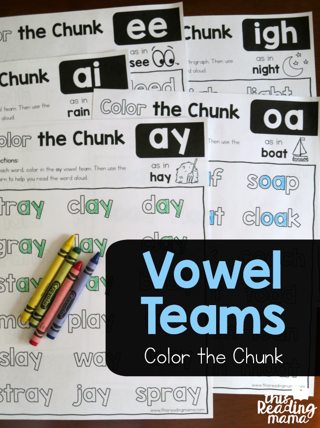 Vowel Team Phonics Worksheets - Color the Chunk - This Reading Mama